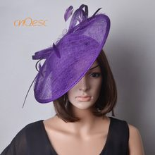 Wholesale Elegant new Purple big Sinamay fascinator saucer fascinator  formal dress hat kentucky derby e5ed26ce3a66