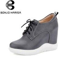 BONJOMARISA Marke Design Frauen Stiefeletten Fashion Versteckte Keil High Heels Lace Up Frühling Herbst Schuhe Runde Kappe Plateaustiefel