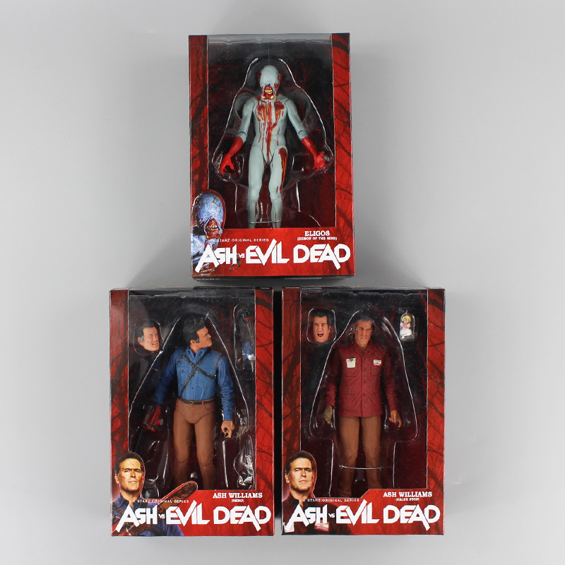 New 3pcs/lot NECA The Evil Dead Ash Vs Evil Dead Ash Williams Eligos PVC Action Figure Collectible Model Toy the wangs vs the world