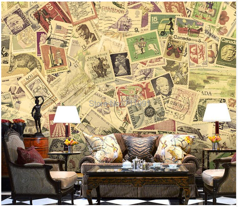 Free shipping custom 3D wallpaper murals bar KTV personality Coffee hall wallpaper retro philately stamps of the world the tenant of wildfell hall