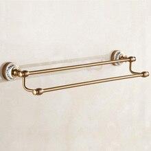 1 Uds. Toalleros de doble nivel de aluminio Vintage europeo Azul-Blanco accesorios de baño