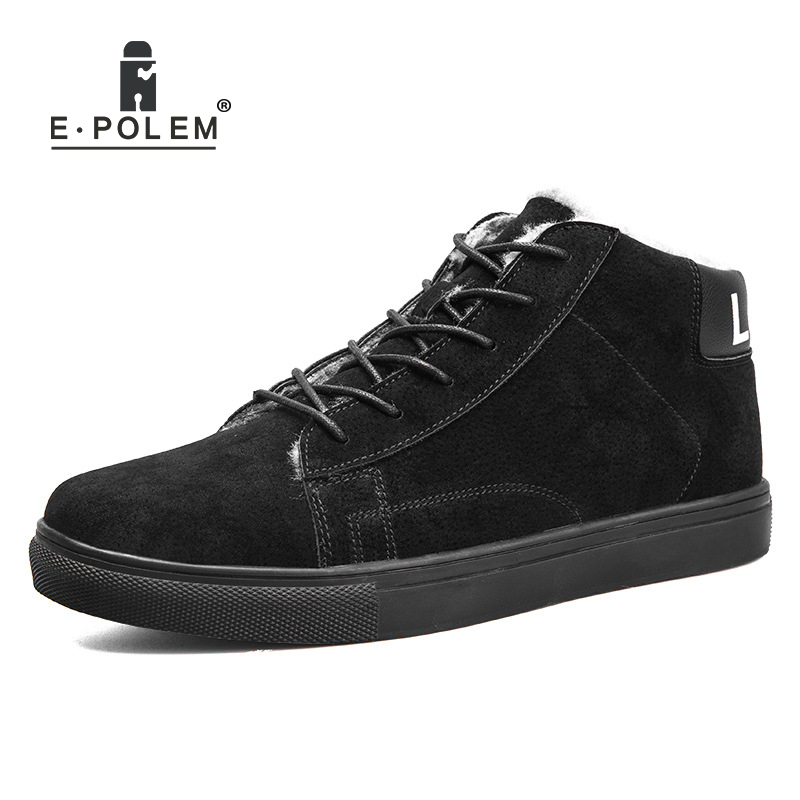 Stylish Suede Casual Shoes for Men's High-Top Ankle Shoes Flat Shoes Men's Leather Warm Shoes 2017 Autumn And Winter New Arrival fooraabo 2017 new print luxury mens casual shoes flat autumn winter hip hop high top men sneaker pu leather shoes big size 38 45