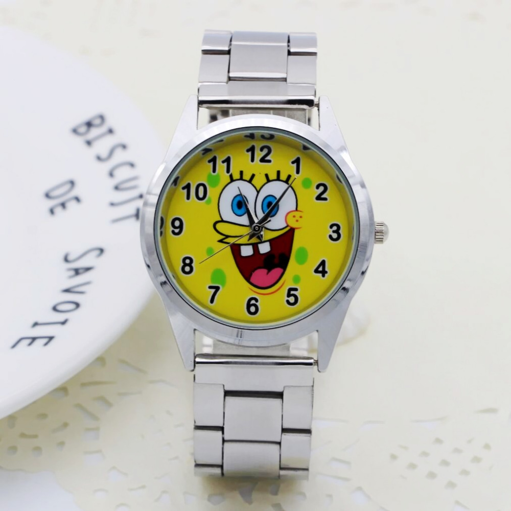 2019 Cute Cartoon Pretty SpongeBob Style Children's Watches Women's Student Girls Boys Quartz Metal Steel Wrist Watch