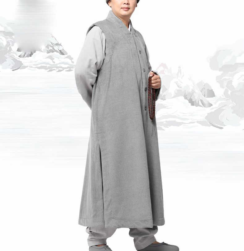 4color winter warm  shaolin monks kungfu robe Buddhist Monk gown  zen suits coatvest lay clothing uniforms coffee/blue/gray