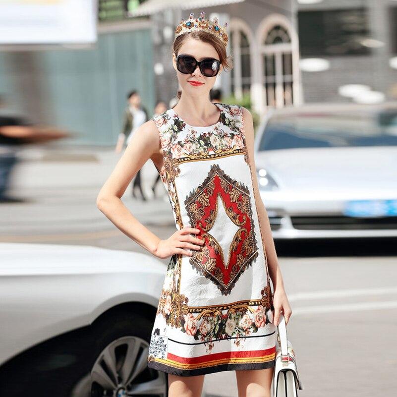 Haute Motif Designer Multi D'été Fleurs Imprimer Vintage Manches Femmes Mode Robe Qualité Nouveau Perles De Sans Cristal 2018 rqrP1p