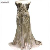 Oferta especial de alta calidad tul Mayorista tela de encaje lentejuelas tela de encaje neto Francés africano de Nigeria boda D78WA06