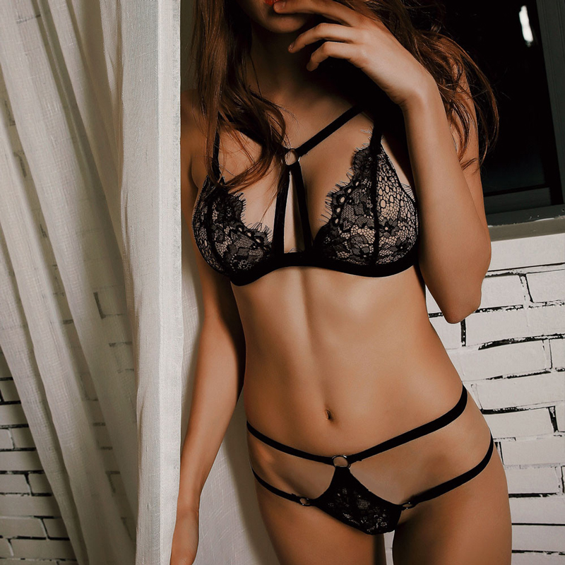 2018 Women Nightwear Sexy Bobydoll France Romantic Lace Push Up Bra Hollow Out Women Bobydoll Underwear Sleepwear Lingerie Set(China)