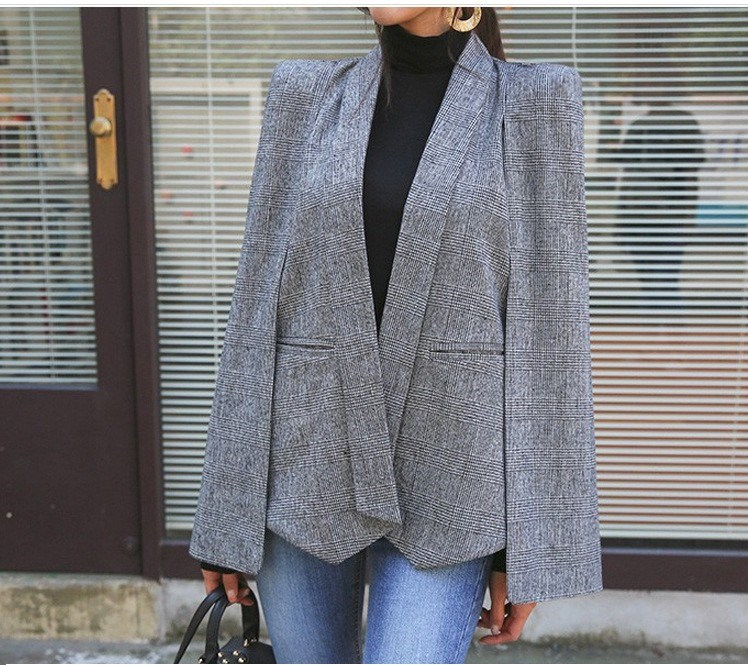 Autumn Spring Women Elegant Long Sleeve Notched Cape Office Blazer Plaid OL Blazers Office Lady Work Suit Work Wear