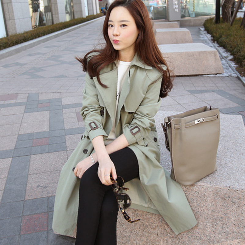 Trench   Coat for Women 2019 Casual Slim Double Breasted Spring/Autumn Coat Women's Overcoat with Pocket