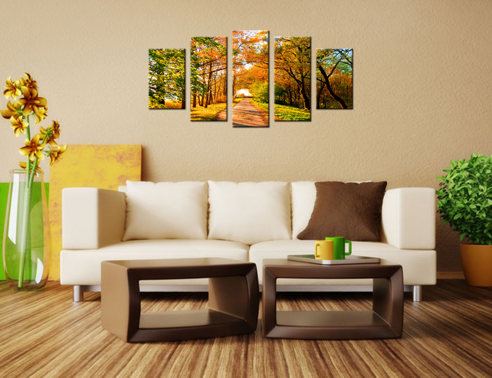 5 Piece Contemporary Wall Art Canvas Autumn Trees And Forest Paths ...