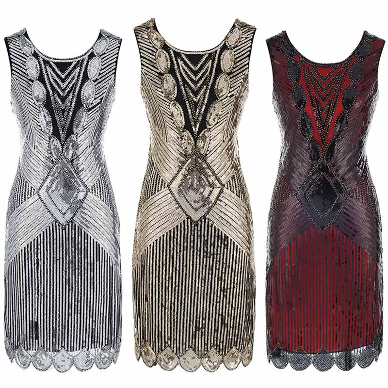 Explosion Models Foreign Trade High-End Costumes 1920 Retro Fashion Sequin Evening Dress Latin Dance Dress DQY10698