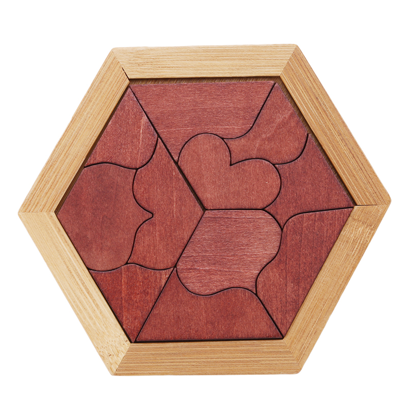 Hot Wood Educational Early Learning Wooden Puzzles Heart-shaped Tangram Jigsaw Board Game Toys For Children Kids Gift
