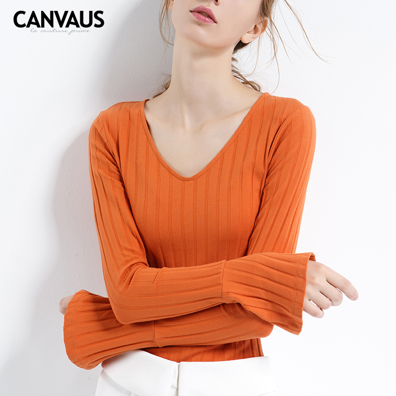 CANVAUS original flare sleeve cotton sweater,beautiful design women tops,female clothing,high quality sweater,2018 new,YM0105