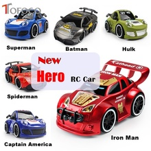 TOFOCO New 6 Type Movie Hero RC Car Batman/Spiderman/Captain America Electric Remote Control Radio Model Vehicle Boy Gifts