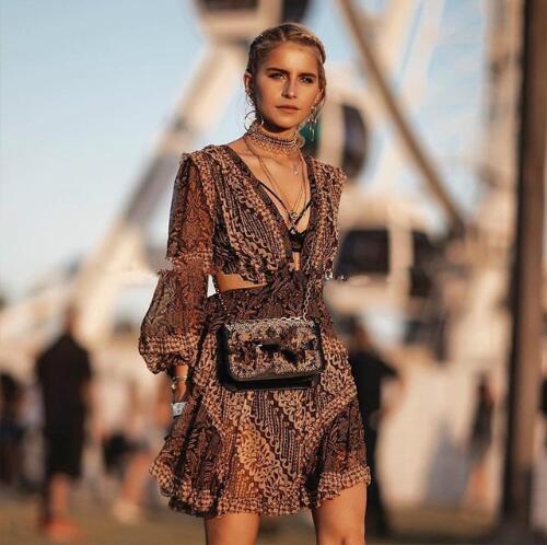 2018 nouveau automne automne femmes Vintage dos nu évider manches bouffantes dentelle en mousseline de soie Patchwork Mini robe robe léopard