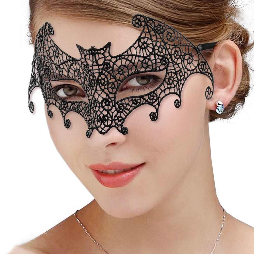 M MISM 1 قطعة مثير أسود الدانتيل الوجه قناع Catwomen تنكر حزب عيون الوجه قناع ملهى ليلي عقال هالوين فستان بتصميم حالم زي