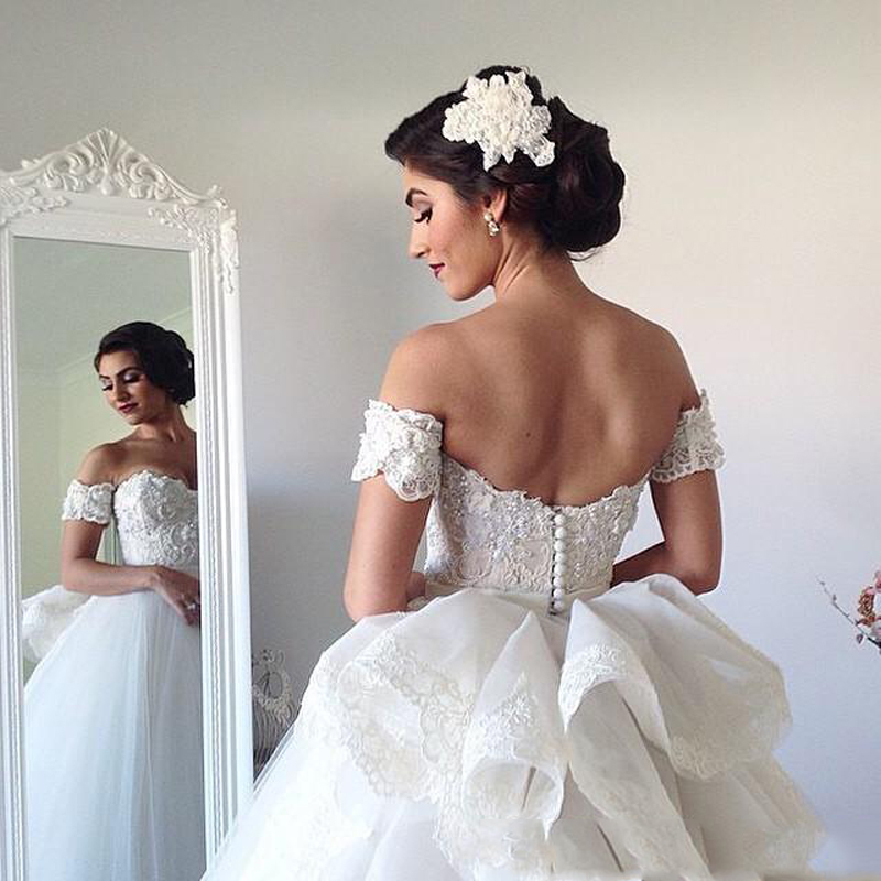 High Quality Lace Tiered Overskirt Wedding Dresses 2016 Off Shoulder Sweetheart Removable Wide Straps Ball Gown Bridal Dress In From