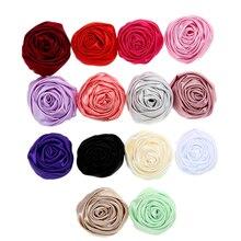 20pcs/lot 2 Satin Rosette DIY Hair Cilps Accessory Back Rose Flower Wedding Party Craft Decoration Supplies Headwear