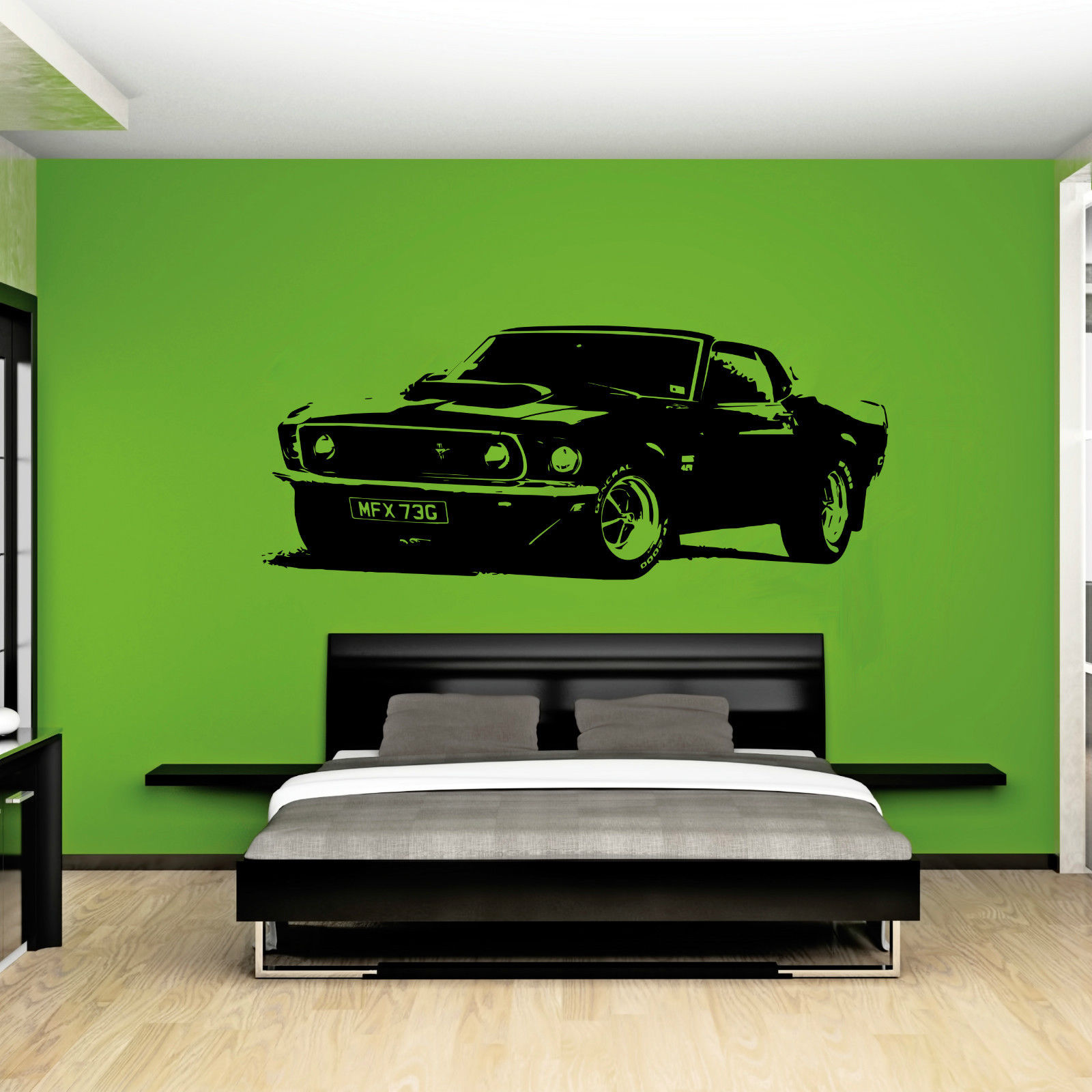 Zn W211 Xl Large Car Ford Mustang 1969 Muscle Free Squeegee Wall Art Decal
