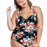 XL 5XL Plus Size Swimwear Sexy One Pieces Swimsuit Floral Print High Waist Large Cup Swimsuit