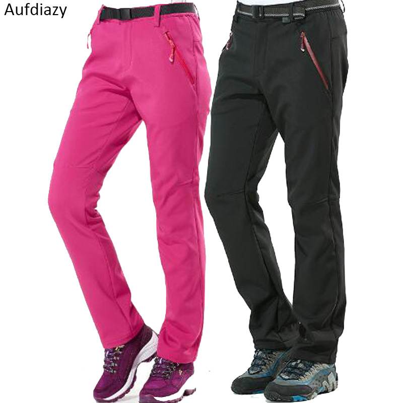 Aufdiazy Men Women Warm Softshell Waterproof Hiking Pants Winter Outdoor Sports Fleece Trousers Trekking Climbing Ski Pant JM051
