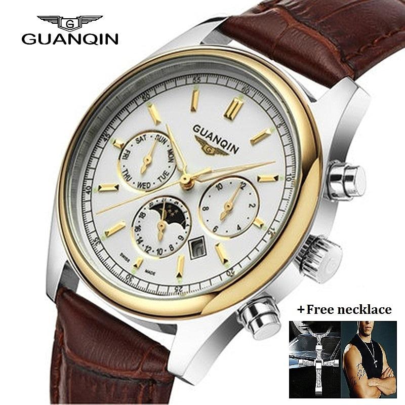 Brand GUANQIN Watch Moon Phase Mens Designer Luminous Quartz Watches Waterproof Leather Watch Men Clock Relogio