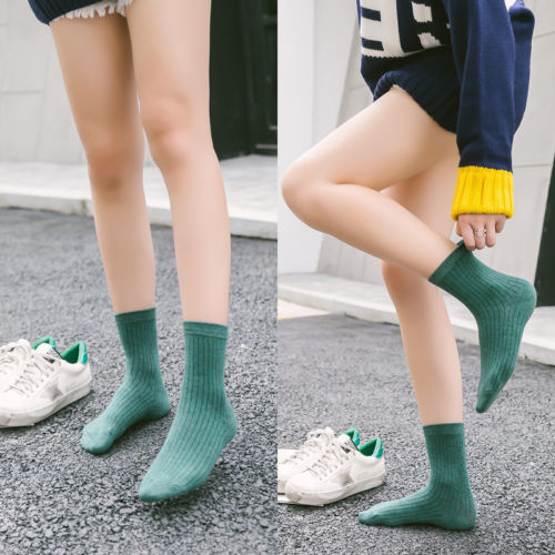 Cute Women Pattern Soft Breathable Ankle-High Casual Cotton Socks Pure Color