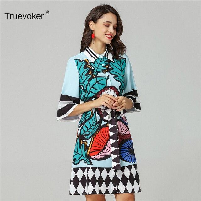 Truevoker Designer Dress Women s High Quality Turn Down Collar Half Sleeve  Colorful Printed Robe Femme Ete Casual Vestido c1b968a6a427