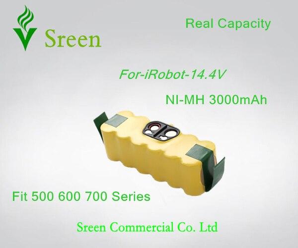 Sreen 3000 mAh 14.4 V Ni-MH Rechargeable Batteries de Remplacement pour iRobot 600 700 Série 610 620 630 650 660 760 770 780 790