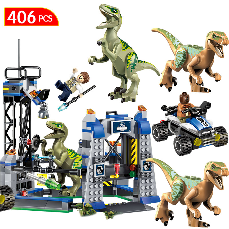 Jurassic World 2 Blocks LegoINGLYS Jurassic park Dinosaur Transport Tyrannosaurus Rex Animal Bricks Toys For Children