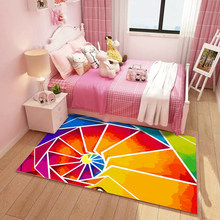 Living Room 3D Carpet For Kids Mat Rug Rainbow Pink Princess Pattern for Children Game Pad Non-slip Washing Baby Kindergarten