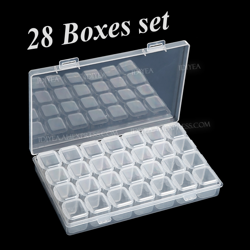 28 Slots Boxes Set Organizer Storage Containers Case For DIY Nail Art Rhinestone Jewelry Beads Manicure Accessory Display Tools