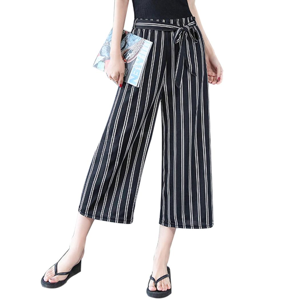 Fashion Women New Summer   Wide     Leg     Pants   Casual Loose High Elastic Waist Harem   Pants   Japanese Style Loose Belt Striped Trousers