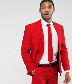 Fashion Men Wedding Suits Classic Two Button Red Men Suit Terno Masculino Slim Fit Blazer Male Formal Business Suits Set