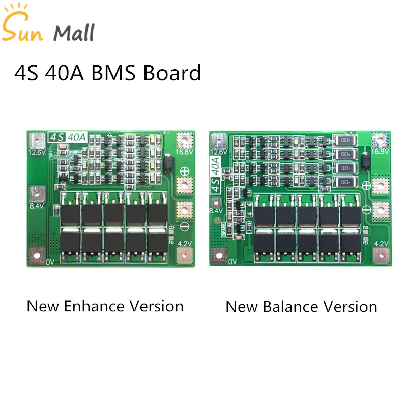 4S 40A Li-ion Lithium Battery Protection Board 18650 Charger PCB BMS For Drill Motor 14.8V 16.8V Enhance/Balance aiyima 2pc 4s 14 8v 12a li ion lithium battery bms 18650 charger protection board module 16 8v overcharge over short circuit