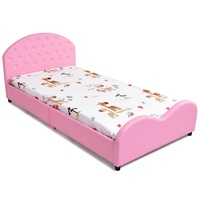 High Quality Kids Children PU Upholstered Platform Wooden Princess Sturdy Stable Bed Friendly Height Rounded Edge Queen Bed