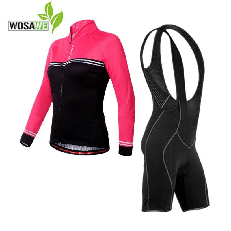 WOSAWE women spring cycling jersey bib shorts set ciclismo autumn zipper shirt 3 pocket reflective 4D gel pad short riding suits