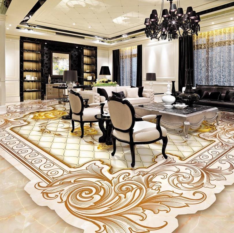european style luxury 3d flooring gold rose vinyl flooring roll non slip wear self adhesive waterproof vinyl flooring bathroomin wallpapers from home - Vinyl Flooring Rolls
