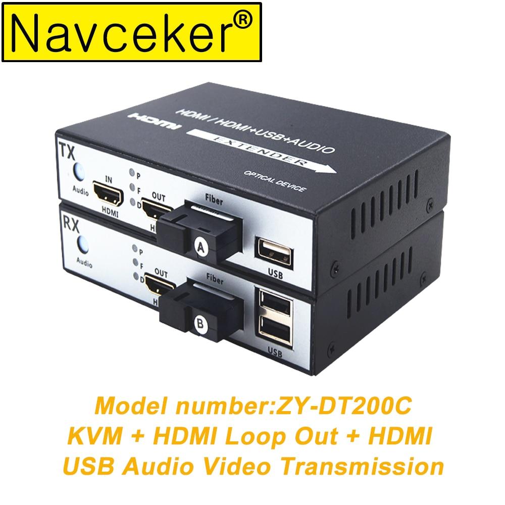 2020 HDMI Fiber Optic Converter Support USB 2.0 KVM Control 20 km HDMI Fiber Optical Extender with Loop Out Over SC Fiber Cable