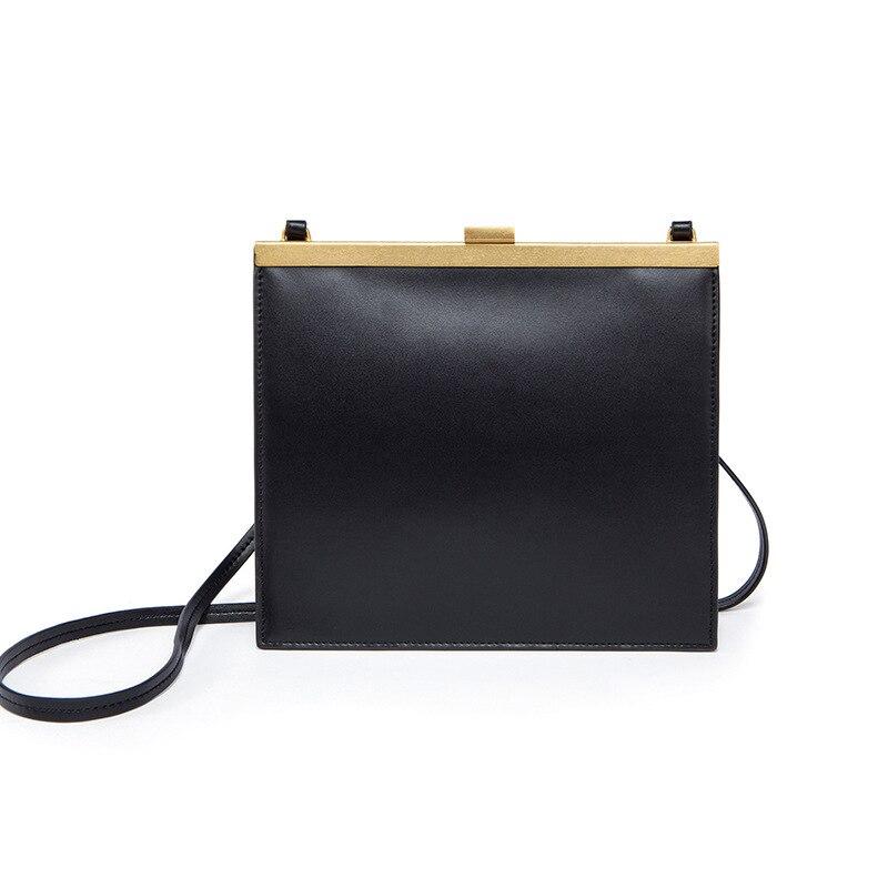 Sac à bandoulière Vintage en cuir véritable avec fermoir pour femme, serrure à baiser, rétro minimaliste, Simple, célèbre, Mini sac à main à bandoulière de luxe