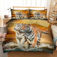 Wolf / Tiger HD printed bedding set with pillowcases queen twin king sizes Animal bed linens set tiger bed cover Men's favorite