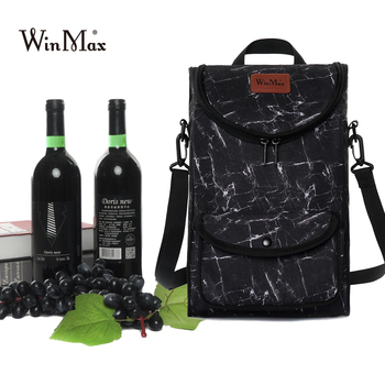 Winmax New Can Folded Cooler Ice Bag Double Wine Bottle Bag Beer Cooling Holder Carrier Portable Liquor Ice-cold for wine lovers 1pc galaxy printing can cooler holder beer wine beverage drinking bottle sleeve cover party home decoration drinkware case