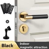 Modern simple fashion gold silver black magnetic mute indoor solid wood door lock with Hinge door stopper room door lock