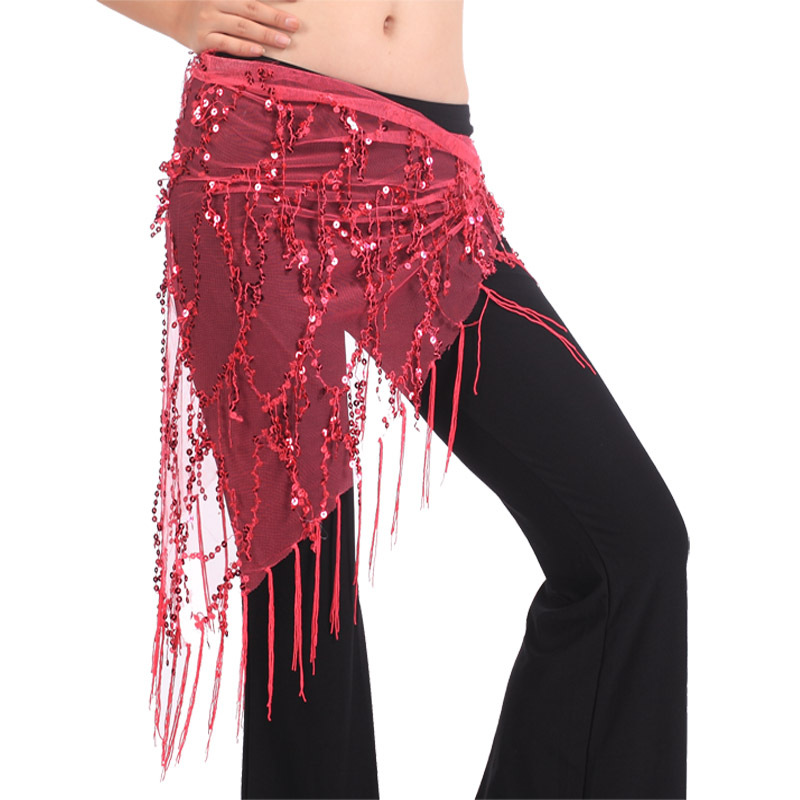 Silver Coins Tassels Sequins Triangle Hip Scarf Belt Chain Belly Dance Costumes