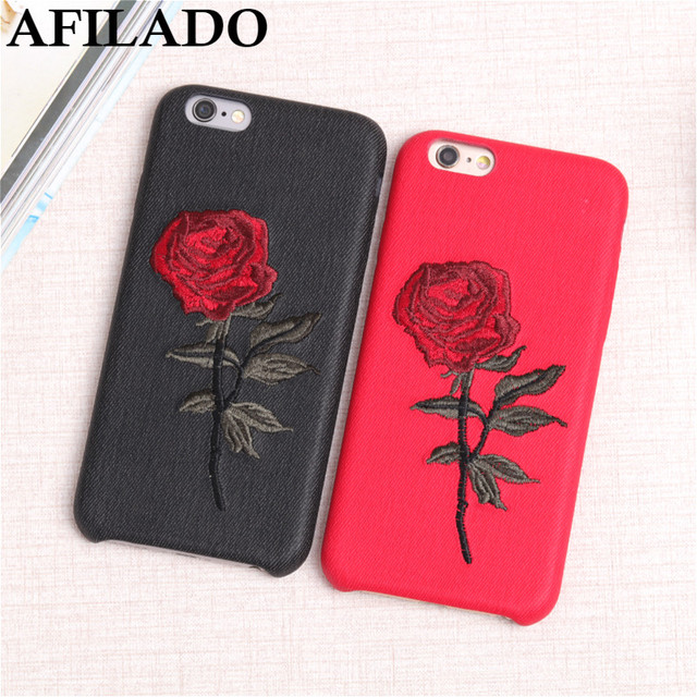 Funny Hand Embroidery Rose Flower Soft Cover for IPhone 6