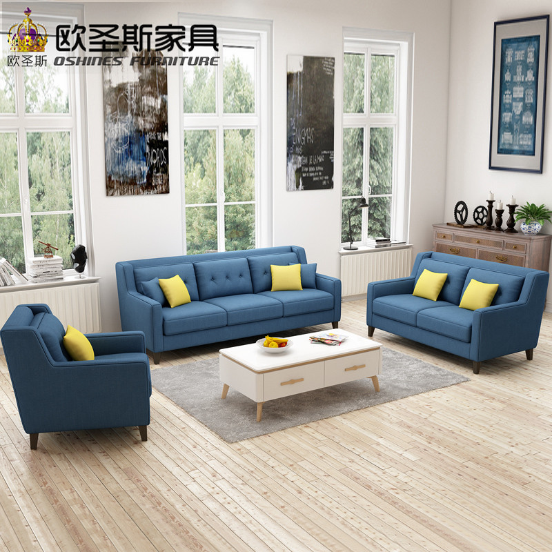New Arrival American Style Light Grey Color Simple Microfiber Livingroom  Chesterfield Italian Fabric Sofa Sets Factory F76FA
