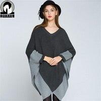 Europe Fashion Cloak Bat Sleeve Sweater Women Autumn Winter Female Pullovers Kintted Brand Women Loose Sweaters