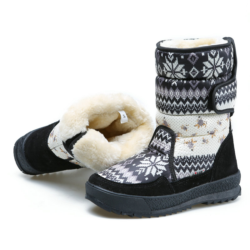 Image 3 - Printing nice winter warm shoes snowboot non slip Rubber outsole snowflake nice looking big plus size free shipping black flower-in Knee-High Boots from Shoes