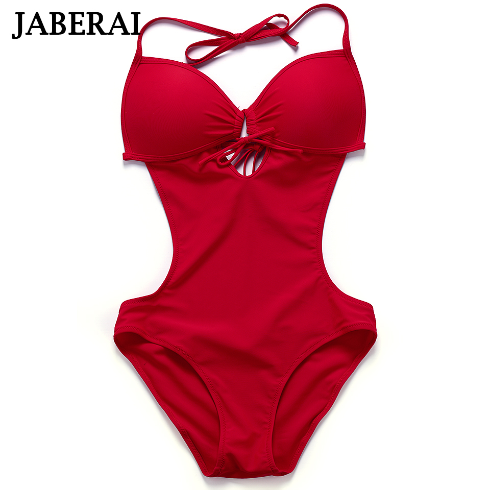 JABERAI One Piece Swimsuit 2017 Monokini Backless Swimwear Women Push Up Biquini Halter Beachwear Strappy Bathing Suit QE333  new 2016 sexy strappy vertical striped one piece swimsuit women push up halter strapless swimwear bandage beachwear bathing suit