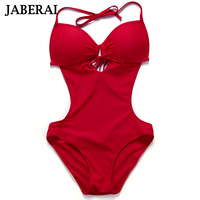 Jaberai One Piece Swimsuit 2017 Monokini Backless Swimwear Women Push Up Biquini Halter Beachwear Strappy Bathing